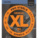 D'Addario EPS160-5 ProSteels 5-String Bass Medium 50-135_
