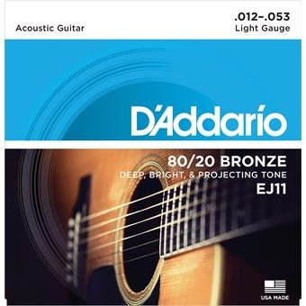 D'Addario EJ11 Bronze Acoustic Guitar Strings Light 12-53