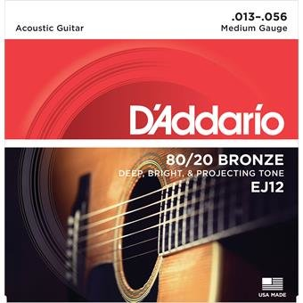 D'Addario EJ12 Bronze Acoustic Guitar Strings Medium 13-56