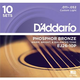 D'Addario EJ26-10PQS Phosphor Bronze Custom Light 10-Pack 11-52