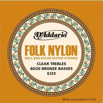 D'Addario EJ33 Folk Nylon Ball End Clear Trebles Bronze Basses