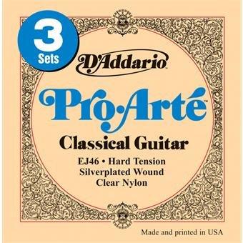 D'Addario EJ46-3D Hard Tension Pro Arte Classical Guitar 3-Pack