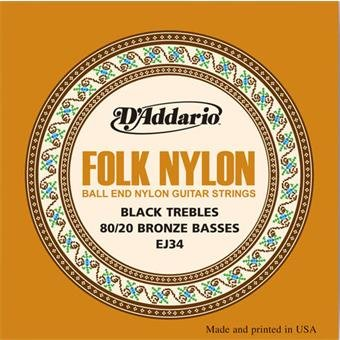 D'Addario EJ34 Folk Nylon Ball End Black Trebles Bronze Basses