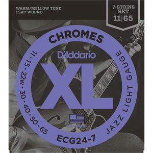 D'Addario ECG24-7 Chromes Flat Wound Jazz Light 7-String