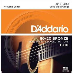 D'Addario EJ10 Bronze Acoustic Guitar Strings Extra Light 10-47