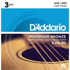 D'Addario EJ16-3D Phosphor Bronze Light 3-Pack 12-53