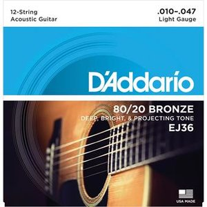D'Addario EJ36 Bronze Acoustic Guitar 12-Strings Light 10-47