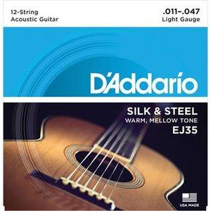 D'Addario EJ35 Silk And Steel Folk Silver Wound 12-String 11-47