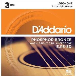 D'Addario EJ15-3D Phosphor Bronze Extra Light 3-Pack 10-47