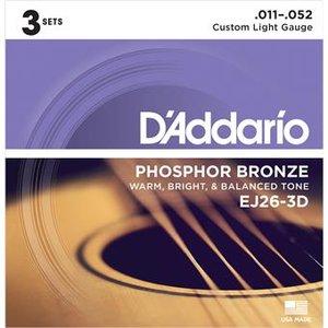D'Addario EJ26-3D Phosphor Bronze Custom Light 3-Pack 11-52