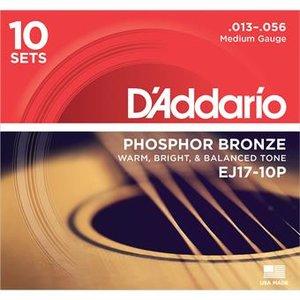 D'Addario EJ17-10PQS Phosphor Bronze Medium 10-Pack 13-56