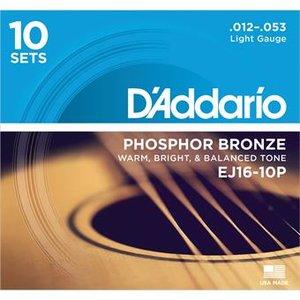 D'Addario EJ16-10PQS Phosphor Bronze Light 10-Pack 12-53