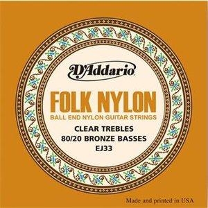 D'Addario EJ33 Folk Nylon Ball End Clear Trebles Bronze Basses
