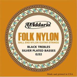 D'Addario EJ32 Folk Nylon Ball End Black Trebles Silver Basses