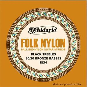 D'Addario EJ34 Folk Nylon Ball End Black Trebles Bronze Basses