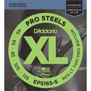 D'Addario EPS165-5 ProSteels Bass 5-String Light Top Med Bottom