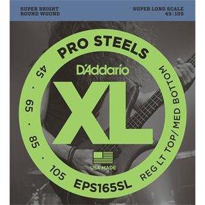 D'Addario EPS165SL ProSteels Bass Reg Light Top Med Bottom Super Long 45-105