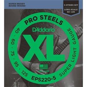 D'Addario EPS220-5 ProSteels Bass 5-String Super Light 40-125